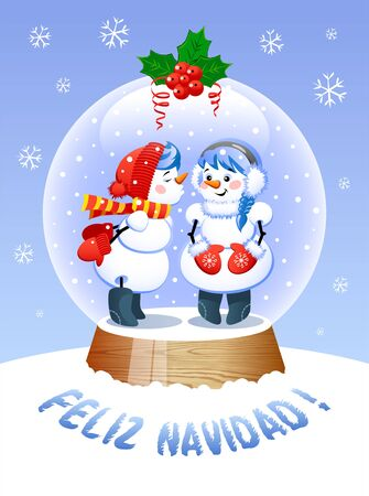 Merry Christmas In Spanish Language. A cute Christmas Snow Globe with a Kissing snowman inside. Vector illustration.
