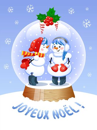 Merry Christmas In French Language. A cute Christmas Snow Globe with a Kissing snowman inside. Vector illustration.