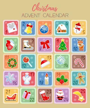 Christmas Advent Calendar with funny cartoon characters and holidays elements. Vector illustration. Flat design without transparency. Ilustracja