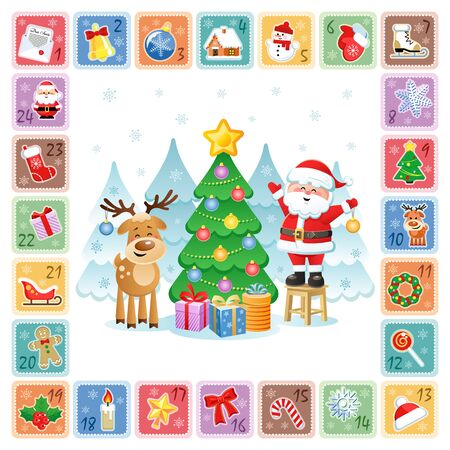 Christmas Countdown Advent Calendar with Christmas decorative icons, funny Santa Claus and a Deer. Vector illustration. Flat design without transparency.