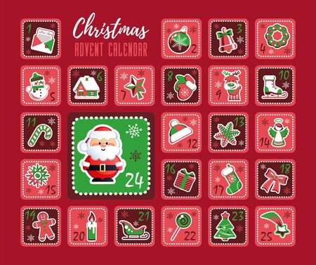 Christmas Countdown Advent Calendar with cute Santa Claus and Christmas decorative icons. Vector illustration without transparency. Ilustracja