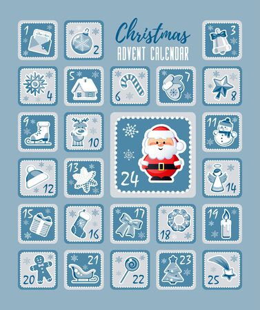 Christmas Countdown Advent Calendar with Christmas decorative icons and cute Santa Claus. Vector illustration without transparency.