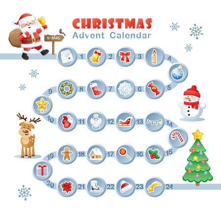 Christmas Countdown Advent Calendar with Christmas decorative icons and Cute Christmas cartoon characters. Vector illustration.  イラスト・ベクター素材