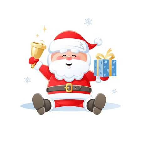 Merry Santa Claus with Christmas gift and golden bell. Cute cartoon character on white background. Flat design without transparent objects. Vector illustration.