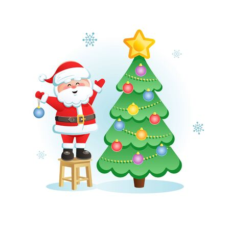 Merry Santa Claus with Christmas Tree. Cute Christmas cartoon character. Vector illustration without transparent objects. Иллюстрация