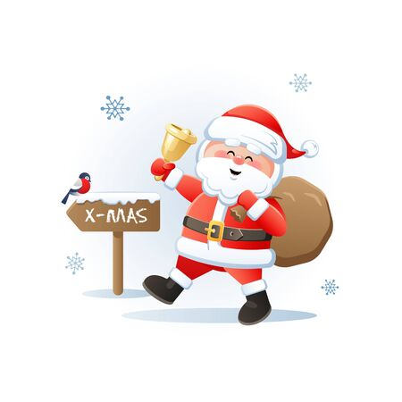 Merry Santa Claus with golden bell and Bullfinch. Cute Christmas cartoon character. Vector illustration without transparent objects.
