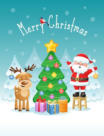 Merry Christmas. Greeting card with cute Santa Claus and Deer. Vector illustration without transparency.