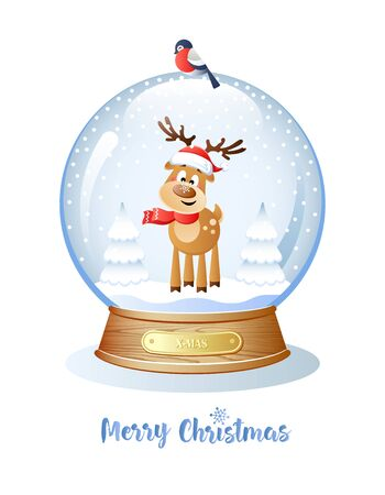 Merry Christmas. Cute Deer with a snowflake on the nose inside a Christmas Snow Globe. Vector illustration.