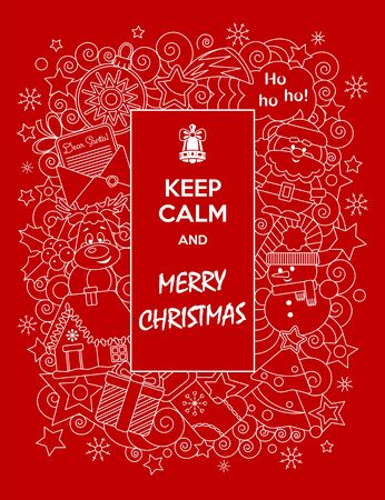 Merry Christmas. Funny greeting card Keep Calm and Merry Christmas with cartoon characters. Vector illustration. Doodles style. Иллюстрация