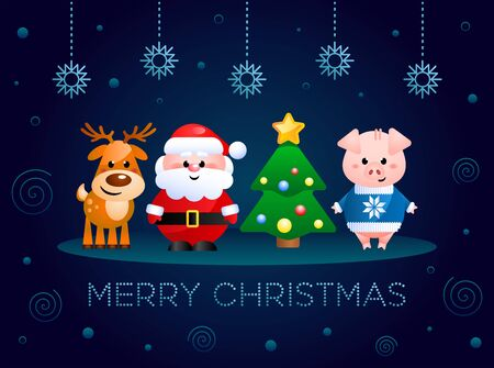 Merry Christmas. Greeting card with cute cartoon characters. Santa Claus, Pig and Reindeer with Christmas tree. Vector illustration. Иллюстрация