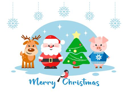 Merry Christmas. Greeting card with funny cartoon characters. Santa Claus, Reindeer and Pig with Christmas tree. Flat design. Vector illustration.