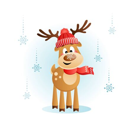 Cute Deer with a snowflake on the nose. Christmas cartoon character. Vector illustration without transparency.