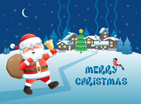 Merry Christmas. Cute Santa Claus with golden bell on a winter village background. Vector illustration. Ilustracja