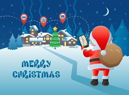 Merry Christmas. Cute Santa Claus with GPS navigation and map pointer icons on a winter village background. Vector illustration.
