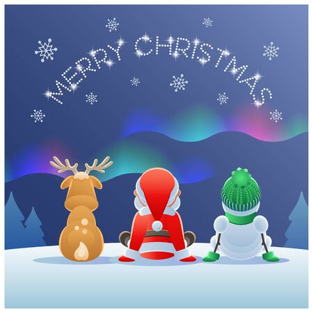 Merry Christmas. Cute Santa Claus, Reindeer and Snowman watching the Northern Lights. Vector illustration.