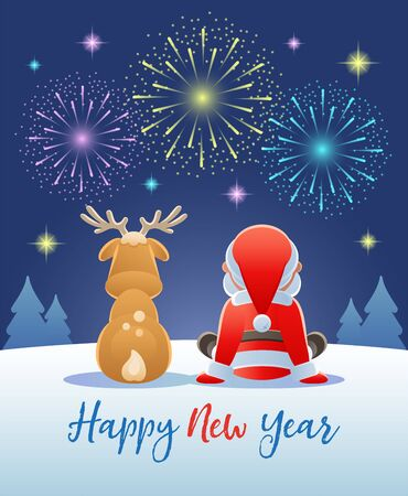 Happy New Year. Cute Santa Claus and Reindeer watching the Fireworks. Vector illustration.
