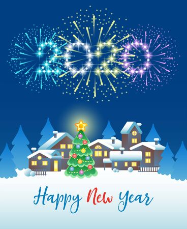 2020 Happy New Year. Festive fireworks in the night sky over the winter village and Christmas tree. Vector illustration.
