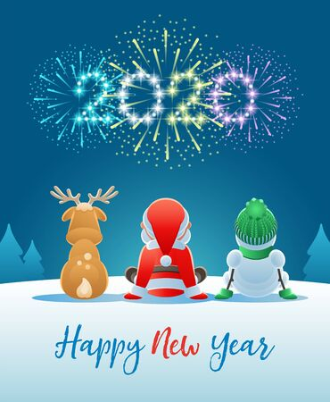 2020 Happy New Year. Cute Santa Claus, Reindeer and Snowman watching the Fireworks. Vector illustration. Иллюстрация