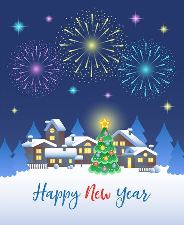Happy New Year. Festive fireworks in the night sky over the winter village and Christmas tree. Vector illustration.