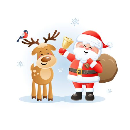 Merry Santa Claus with Reindeer and Bullfinch. Cute Christmas cartoon characters. Vector illustration without transparent objects.
