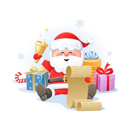 Merry Santa Claus holding Christmas wish list with golden bell and Gifts. Cute cartoon character. Flat design without transparent objects. Vector illustration.