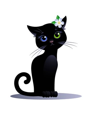 Black cat Girl with eyes of different colors and flower on a white background. Cute cartoon character. Vector illustration. Standard-Bild - 130007365