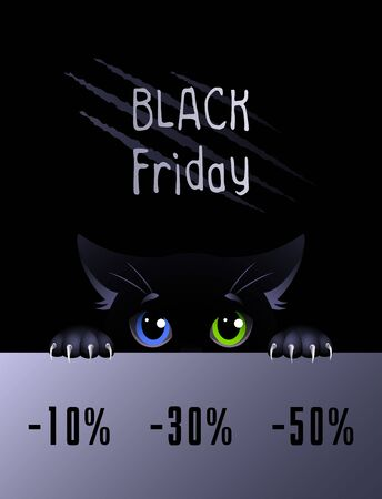 Black Friday. Black cat with eyes of different colors on the black background and sales text. Vector illustration. Vettoriali