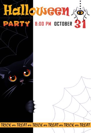 Halloween Party. Colorful poster with cute black cat and spider. Place for your text message. Vector illustration.