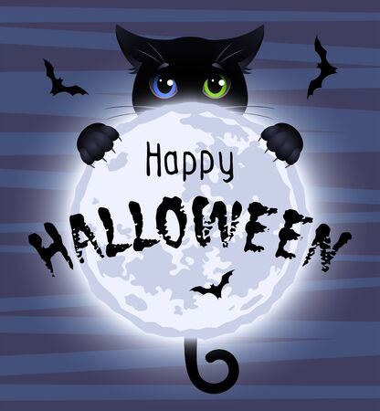 Happy Halloween. Cute black cat with eyes of different colors hugs the full moon. Vector illustration. Illustration