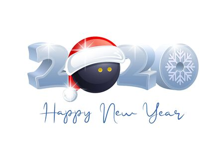 2020. Happy New Year! Sports greeting card with Squash ball and Santa Claus hat. Vector illustration. Иллюстрация