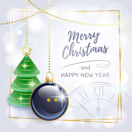 Merry Christmas. Happy New Year. Sports greeting card. Squash. Vector illustration.