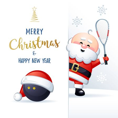 Merry Christmas and Happy New Year. Sports greeting card. Cute Santa Claus with Squash ball and Squash Racket. Vector illustration.