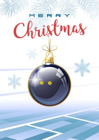Merry Christmas. Sports greeting card. Realistic squash ball in the shape of a Christmas ball. Vector illustration.
