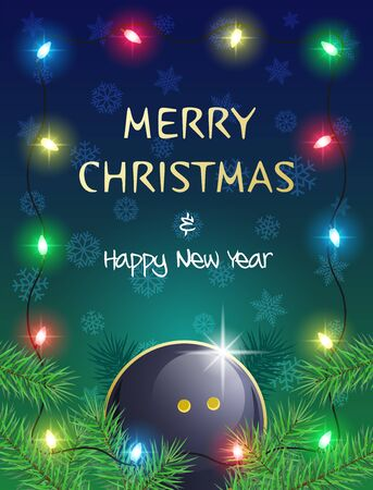 Merry Christmas and Happy New Year. Sports greeting card with Squash ball and Christmas Lights. Vector illustration.