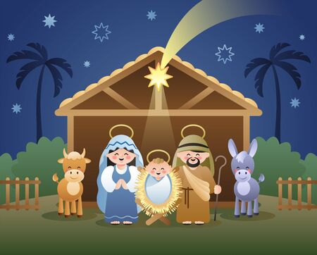 Christmas Nativity Scene with Holy Family and shooting Star of Bethlehem. Cute cartoon characters. Vector illustration. 向量圖像