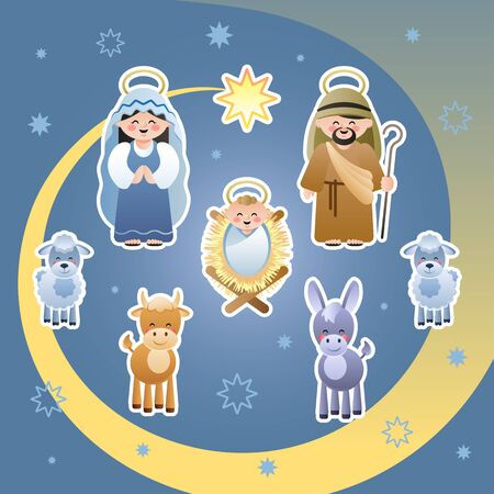 Christmas Nativity Scene. The Holy Family, Star of Bethlehem, Donkey, Bull and Sheeps. Cute cartoon characters. Vector illustration.