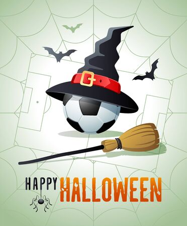 Happy Halloween. Sports greeting card. Soccer ball with witches hat and broom on the background of the soccer field as a spiders web. Vector illustration. Иллюстрация