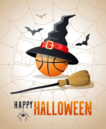 Happy Halloween. Sports greeting card. Basketball ball with witches hat and broom on the background of the basketball court as a spiders web. Vector illustration.