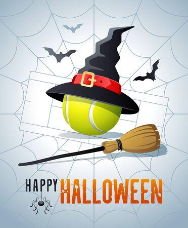 Happy Halloween. Sports greeting card. Tennis ball with witches hat and broom on the background of the tennis court as a spiders web. Vector illustration. Иллюстрация