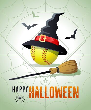 Happy Halloween. Sports greeting card. Softball ball with witches hat and broom on the background of the softball field as a spiders web. Vector illustration.