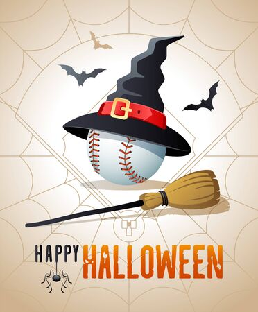 Happy Halloween. Sports greeting card. Baseball ball with witches hat and broom on the background of the baseball field as a spiders web. Vector illustration.