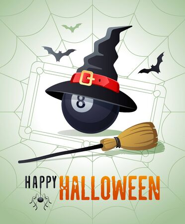 Happy Halloween. Sports greeting card. Billiard ball with witches hat and broom on the background of the billiard pool table as a spiders web. Vector illustration.