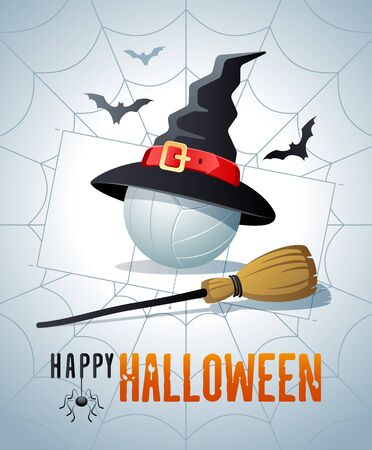 Happy Halloween. Sports greeting card. Volleyball ball with witches hat and broom on the background of the volleyball court as a spiders web. Vector illustration.