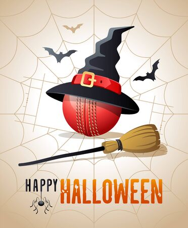 Happy Halloween. Sports greeting card. Cricket ball with witches hat and broom on the background of the cricket pitch as a spiders web. Vector illustration.