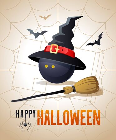 Happy Halloween. Sports greeting card. Squash ball with witches hat and broom on the background of the squash court as a spiders web. Vector illustration.