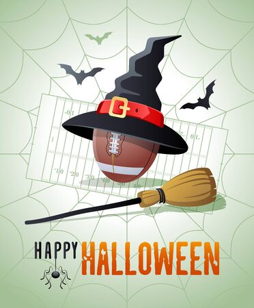 Happy Halloween. Sports greeting card. Football ball with witches hat and broom on the background of the football field as a spiders web. Vector illustration.
