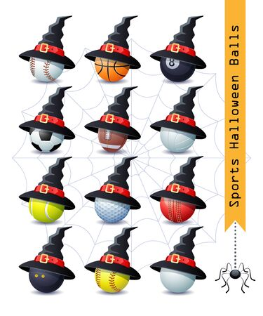Collection of 12 different Halloween sports balls with a Witch hat for your creative work. Vector illustration.