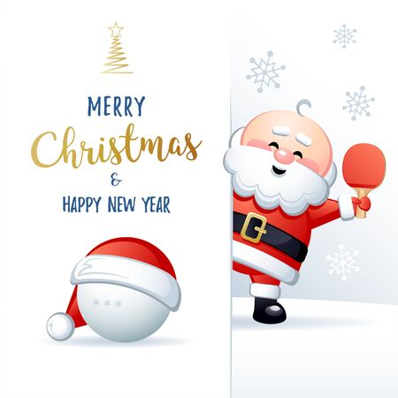 Merry Christmas and Happy New Year. Sports greeting card. Cute Santa Claus with ball and Paddle. Vector illustration.