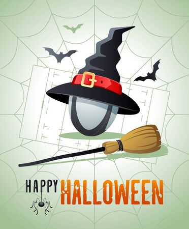 Happy Halloween. Sports greeting card. Rugby ball with witches hat and broom on the background of the rugby field as a spiders web. Vector illustration.