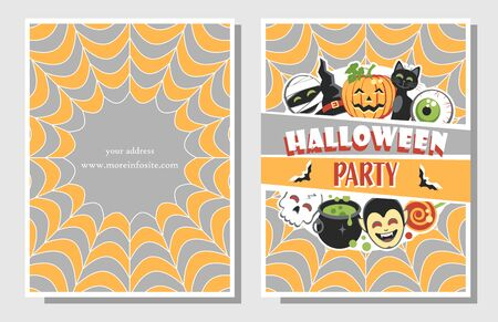 Two sides invitation or flyer for Halloween Party with funny festive elements. Flat design. Vector illustration. Иллюстрация